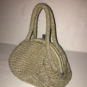 Vintage crocheted woven Heirloom Clutch Purse Bag